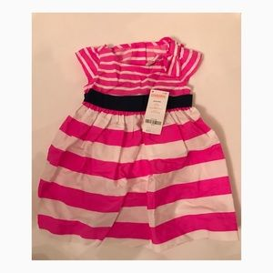 NWT Gymboree Pink and White Striped Dress 6-12Mos